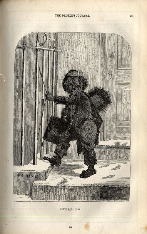 Black and White painting of a young sweep walking into someone's house. He is carrying his equipment on his back. He seems tired and scared. There is snow on the ground.