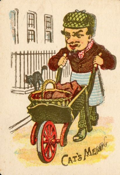 a colourful drawing of a man wearing an apron and a hat, pushing a wheelbarrow filled with meats
