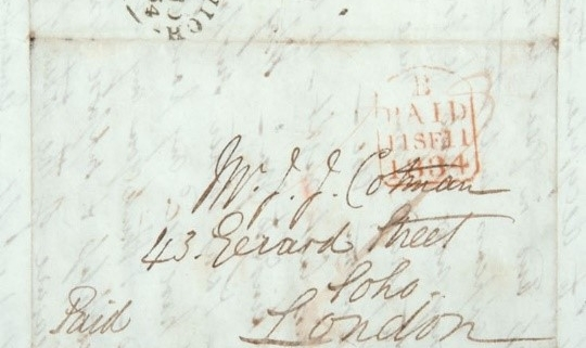 The front of an old fashioned enveloped, addressed to Mr J J Cotman. It has a Norwich postmark on it and is written in very slanted writing.