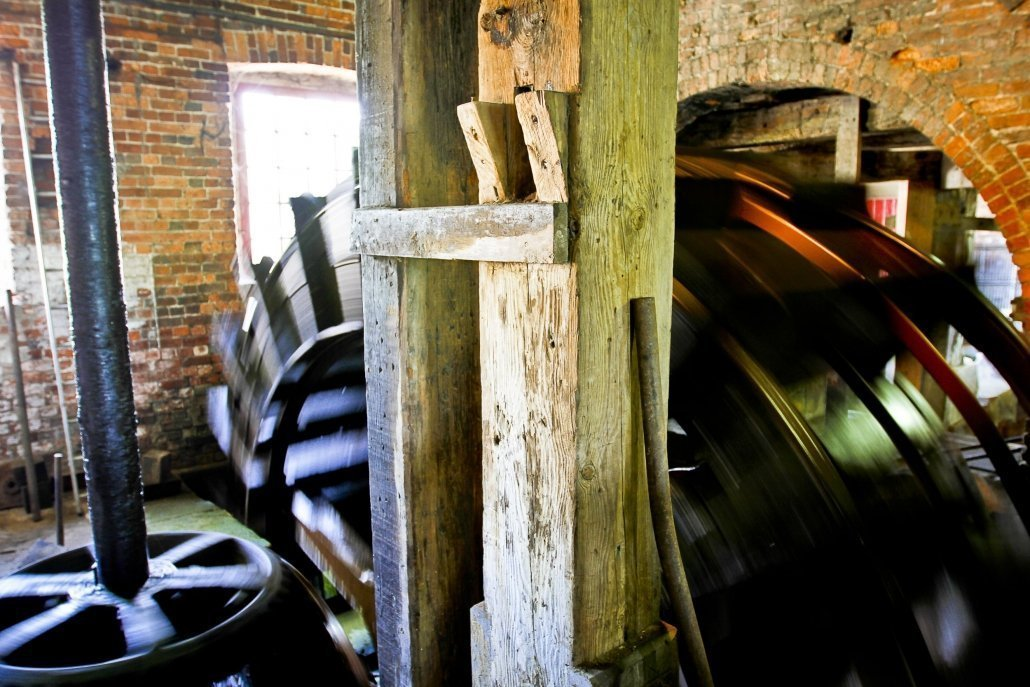 Large mill wheel in motion