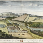 A colourful but old painting of Gawthorpe near Leeds. A crest and some descriptive writing are at the bottom of the painting, which shows a grand house amidst some fields.