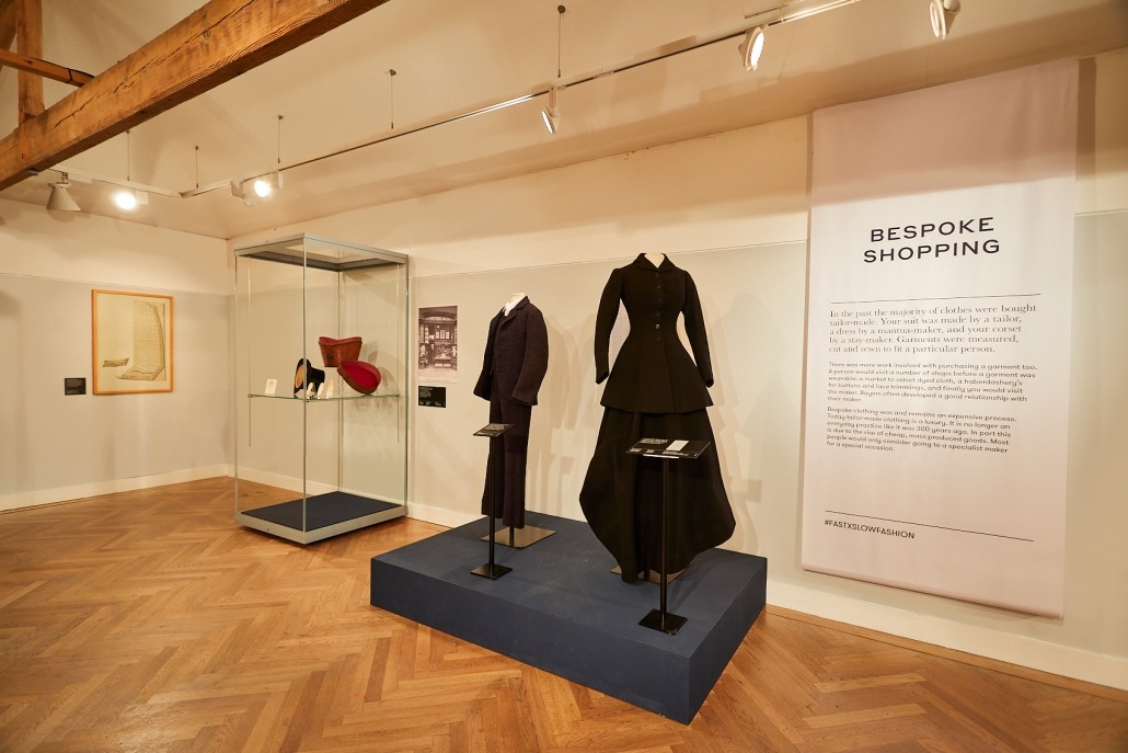 Two bespoke garments on display as part of the Fast x Slow Fashion exhibition