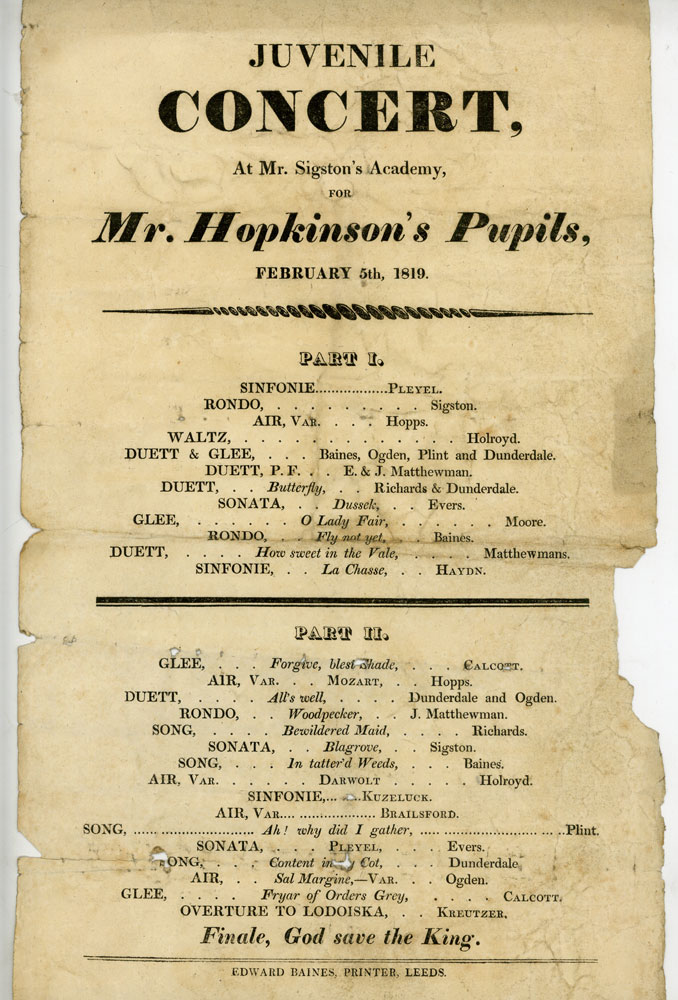 Programme for Juvenile Concert at Mr. Sigston's Academy for Mr. Hopkinson's Pupils, February 1819.