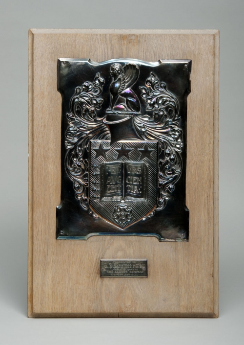 Silver plaque presented by Leeds University students to Thomas James Hoggett in 1906. He taught at both the University of Leeds and the Leeds City School of Music.