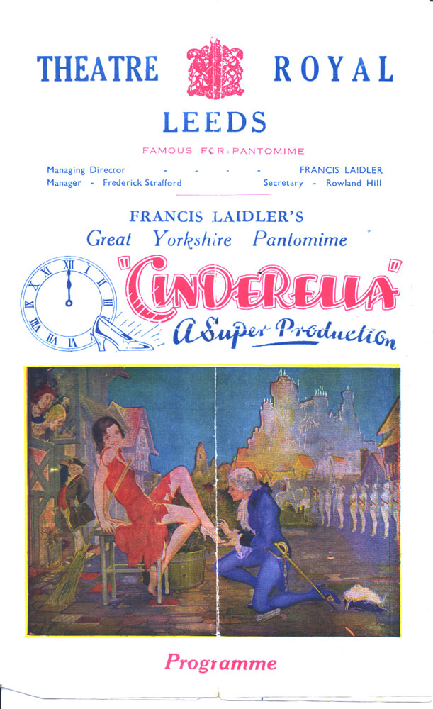 A poster from Theatre Royal, Lands Lane 1876-1961. It is promoting 3. Pantomime 'Cinderella' starring Bunny Doyle as 'Buttons', 1943-44.