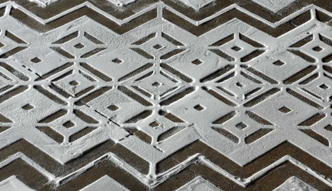 Geometric artwork formed out of salt