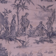A blue and purple printed textile with colonial figures