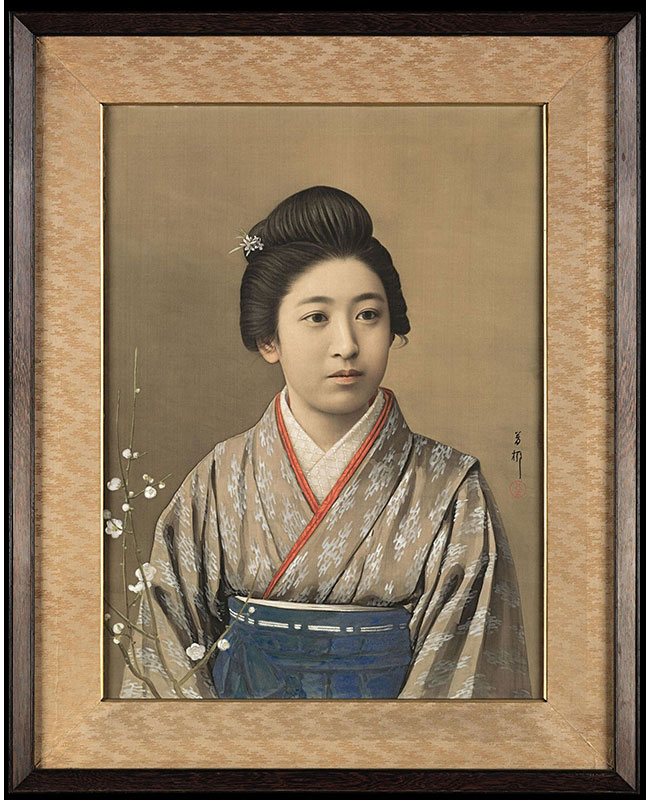 Painting on silk in mineral pigments, sumi ink and gofun or clam shell gesso mounted as a gaku or framed panel, depicting a beautiful young woman dressed in kimono and hakama with a branch of flowering white plum. Signed on the right side: Horyu, and sealed (Goseda Horyu II, the go or art name of Goseda Yoshio, 1864 – 1943). In the original period frame of East Indian rosewood and beveled silk brocade. Meiji Era, circa 1893 – 1912.